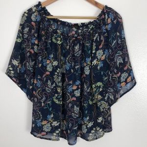 Jeans by buffalo floral blouse sheer sz large